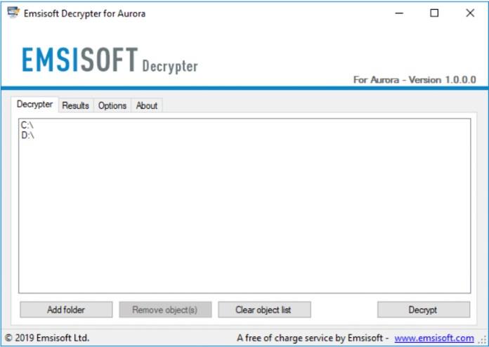 emsisoft decrypter for aurora