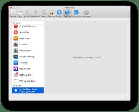 Safari > Disable plug-ins