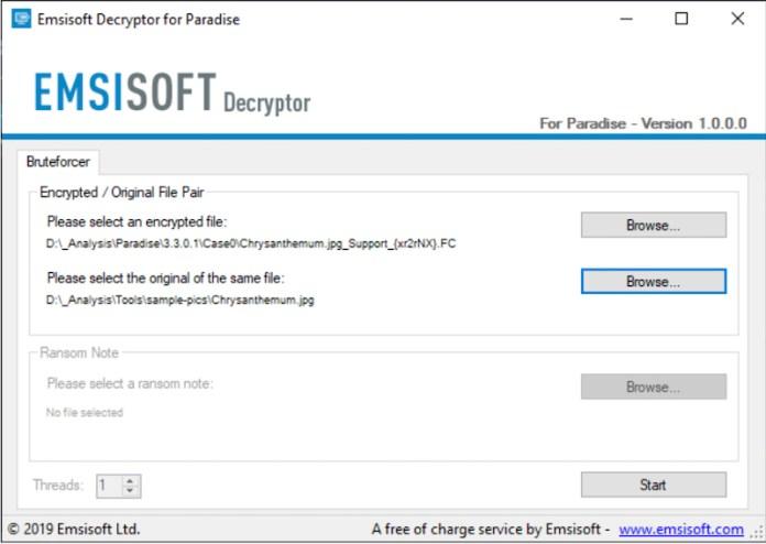 emsisoft decryptor for paradise