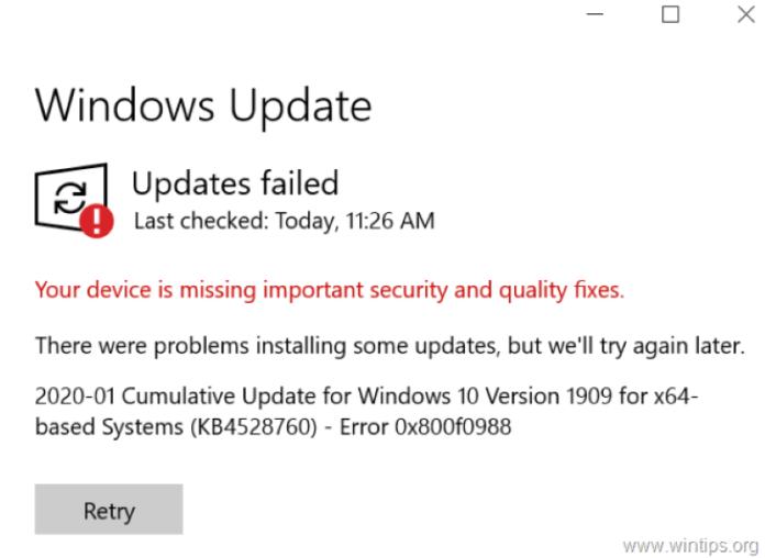 error 0x800f0988 in windows 10
