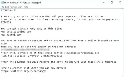 ZyNoXiOn Ransomware (ransom note)
