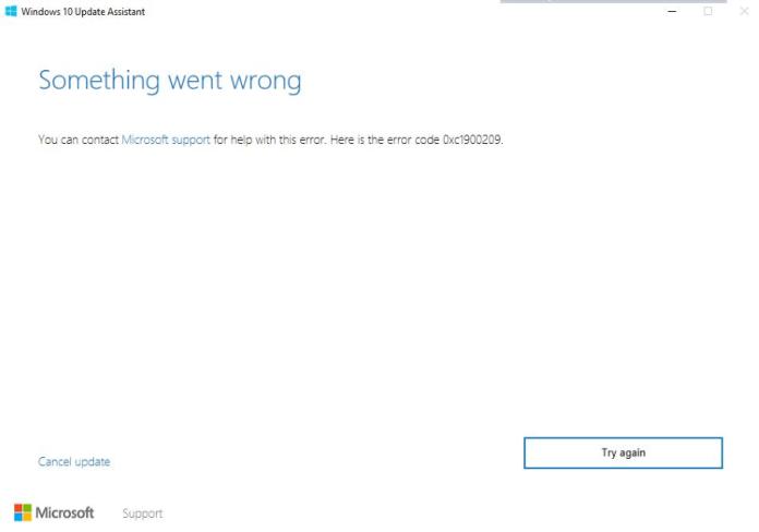 windows update error 0xc1900209