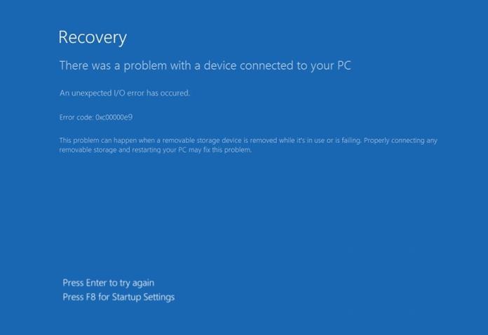 windows 10 error 0xc00000e9