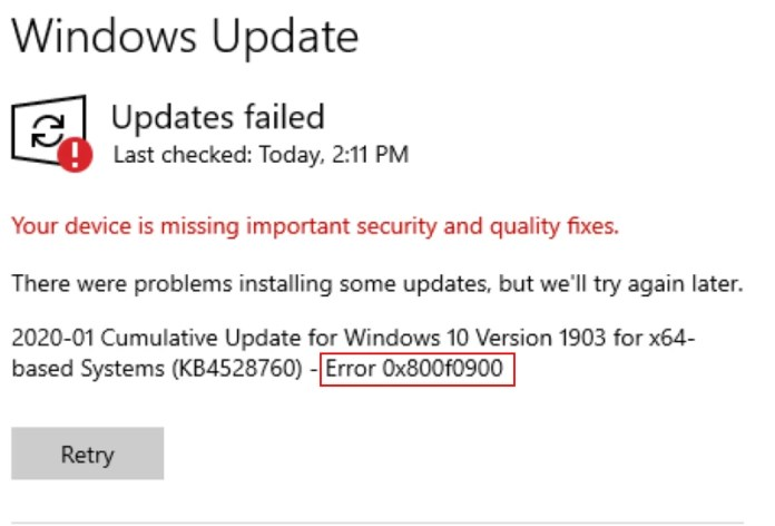 windows update error 0x800f0900