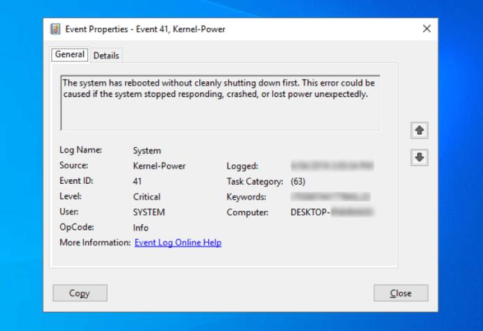 kernel-power critical error