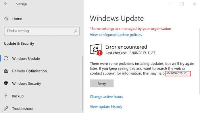 windows update error 0x8007025d0