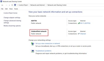 """Ethernet """"Unidentified network"""" problem in Network and Sharing Center"""
