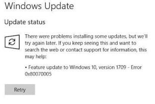 Windows Update error 0x80070005 (sample 1)