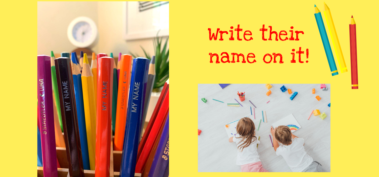 Children drawing with colouring pencils. Write their name on it!