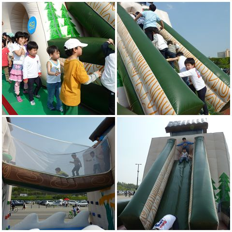 Lining up, climbing up, crossing the bridge and sliding down the bouncing castle
