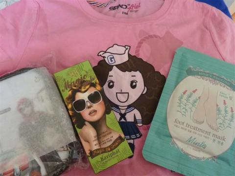 SPAO shirt, Baviphat Magic Girls BB Cream, The Saem Foot Treatment Mask and Tony Moly pouch