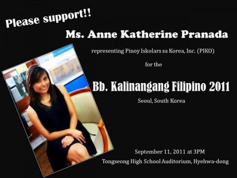 Vote for Ms. Anne Katherine Pranada for Bb. Kalinangan