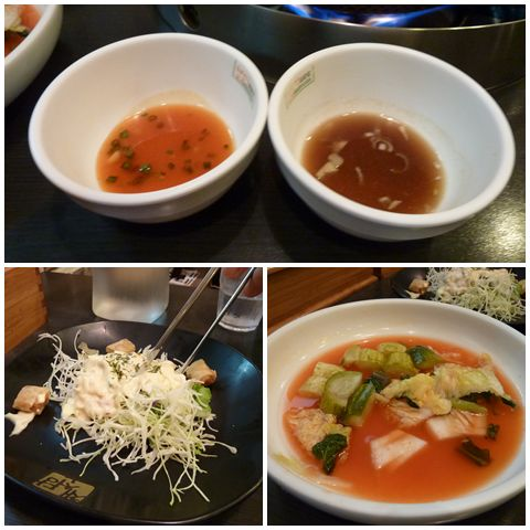 Two kinds of sauces; salad and water kimchi
