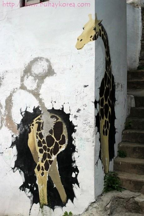 Giraffe looking at its behind