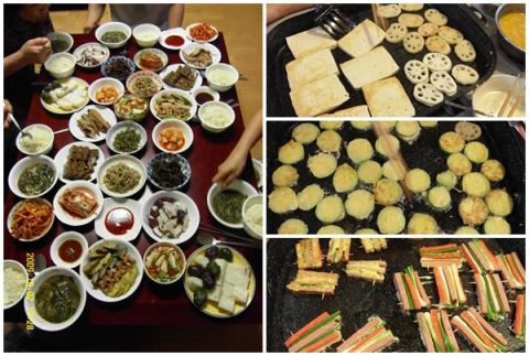 "Dinner on the eve of Chuseok and the ""jeon"" we prepare."