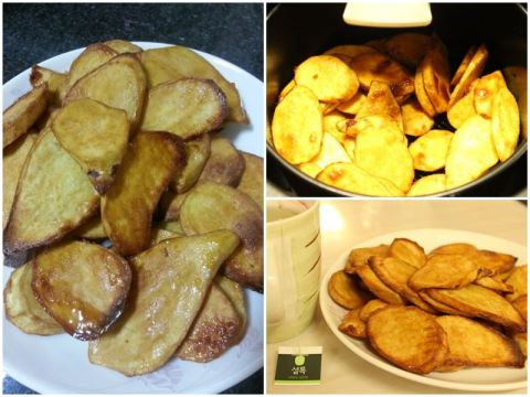 Filipino-style sweet potato fries goes well with green tea
