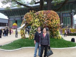 """My elder sisters posing in front of the """"elephant"""""""