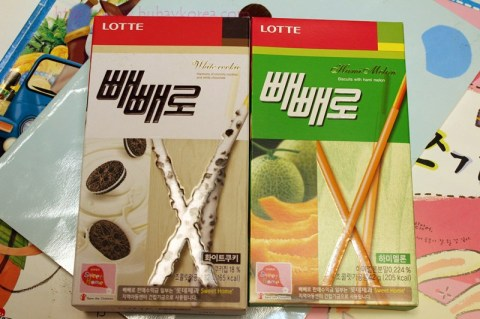 White cookie and hami melon Pepero