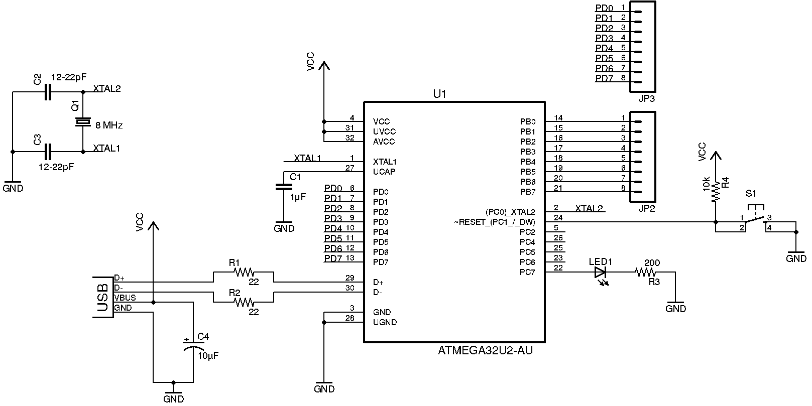 ATmega32U2 circuit diagram
