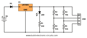 PortableUSBChargercircuitdiagramvalues  Build Electronic Circuits