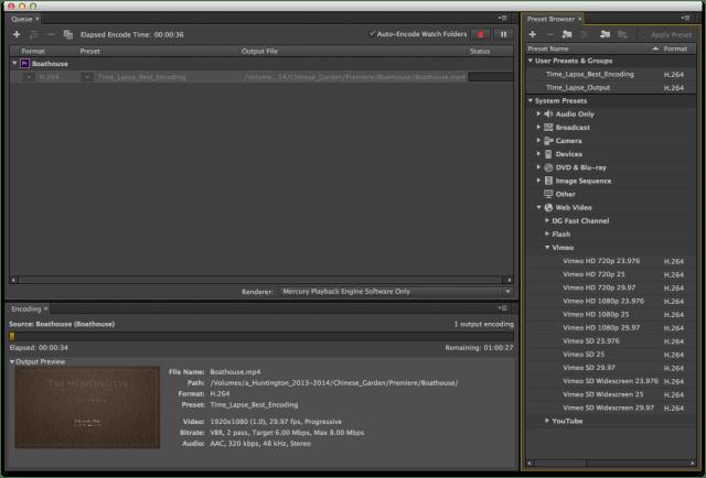 time lapse media encoder panel