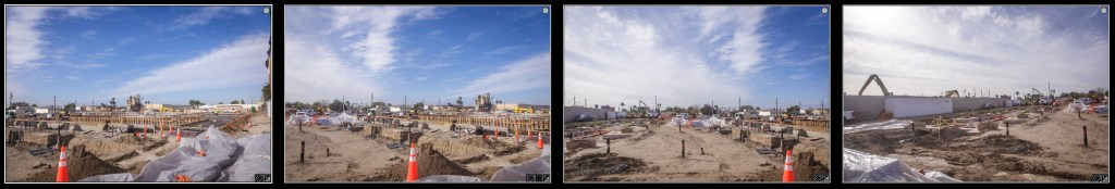 A 4 exposure panorama of a construction job site.
