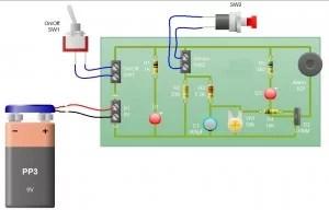 Sensor Alarm using thyristor- Basic electronic project
