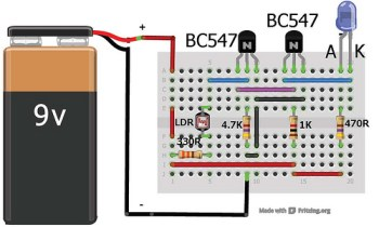 Dark sensor using transistor, phototransistor and photodiode