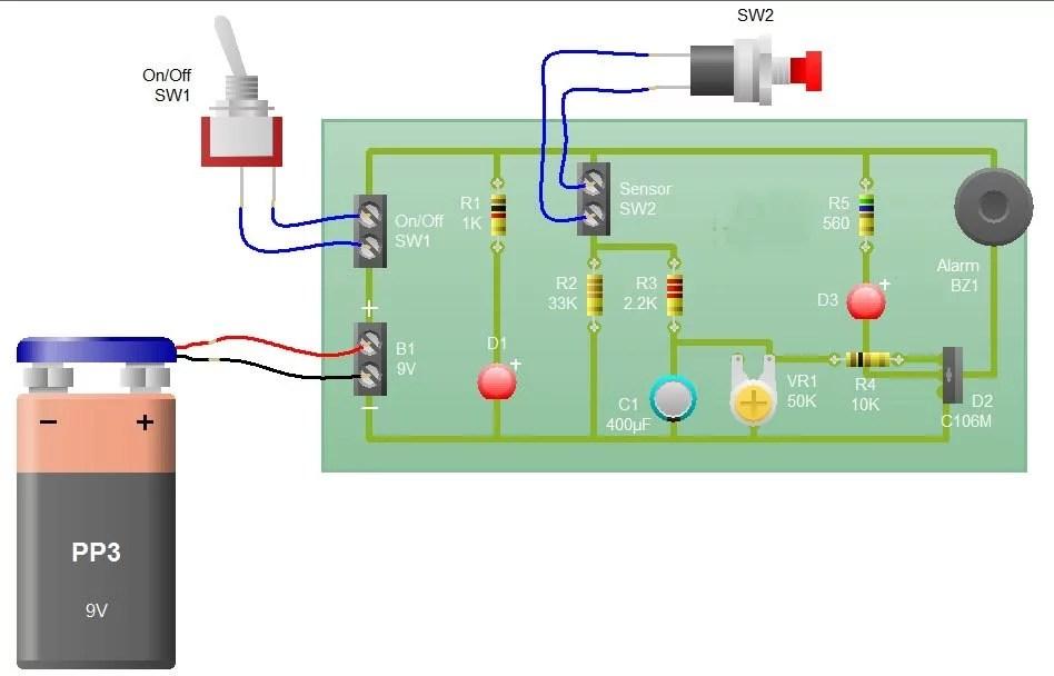 Sensor Alarm Using Thyristor