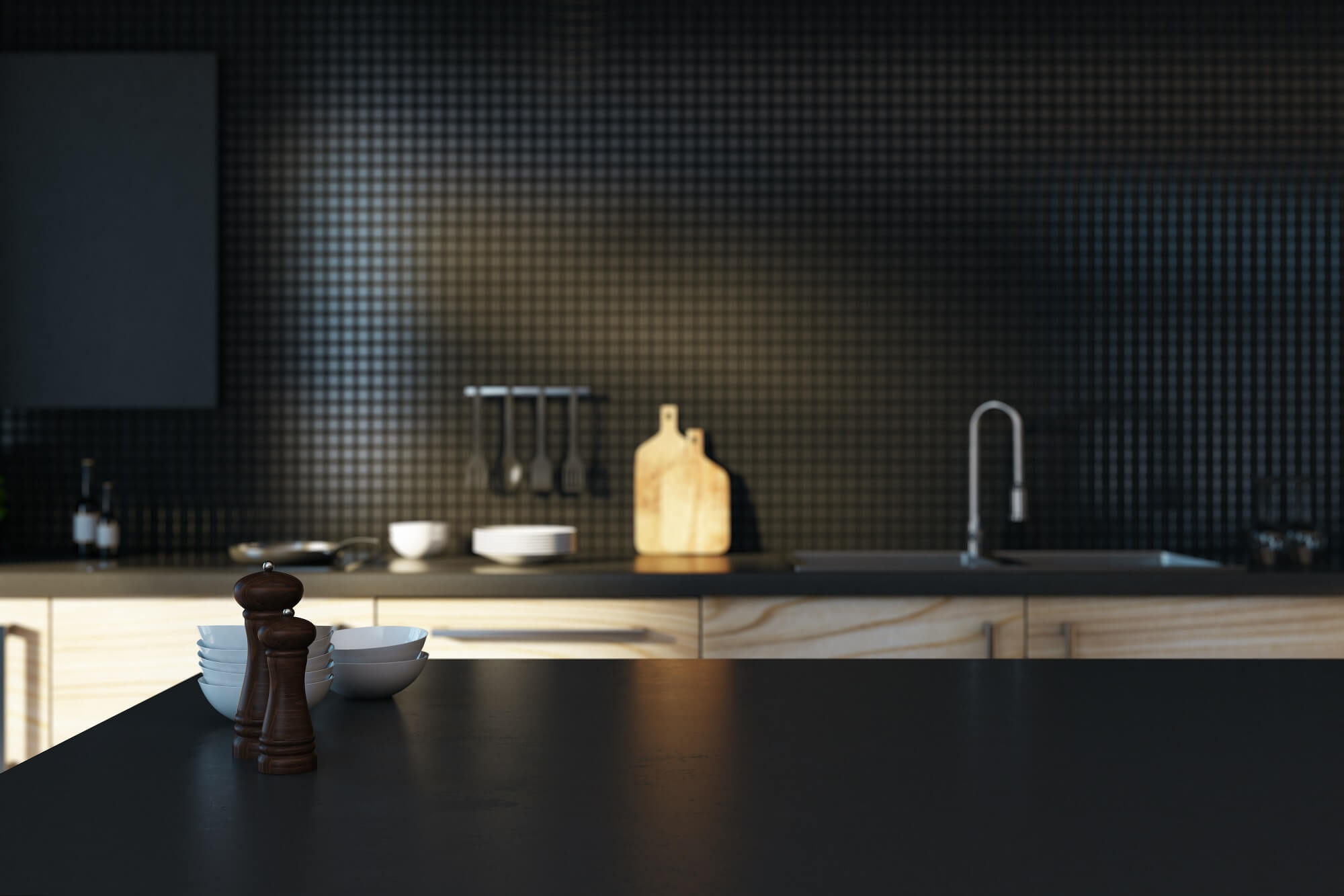 decorating with black tile
