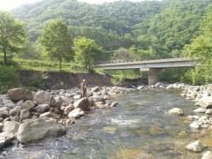 七入オートキャンプ場前の実川の流れでフライフィッシング