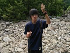岩魚を釣り上げた