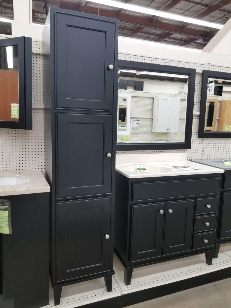 Saratoga Dark Maple with Legs Linen Cabinet - Builders ... on Dark Maple Cabinets  id=38044