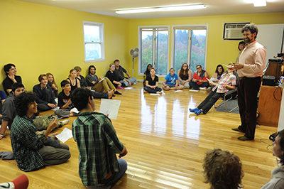 Josh Wachtel of the North Star School in Sunderland, Massachusetts, talks with students. Recorder Staff/Paul Franz