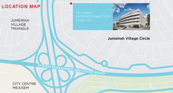 map to The Waves - Jumeirah Village Circle