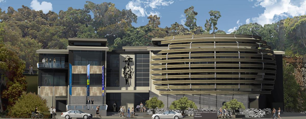 Kaikoura Civic Building; architect DesignBASE; Engineers - Prestressed Timber Ltd;