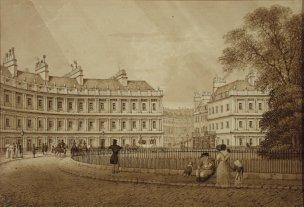The Circus, Bath, drawn by Robert Woodroffe c.1829 (Victoria Art Gallery, Bath)