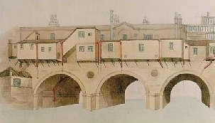 The north side of Pulteney Bridge in 1872 (Victoria Art Gallery, Bath)