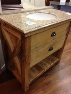 amish made reclaimed barnwood rustic vanity with drawers 36in
