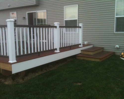 PVC decking canyon brown fireside TimberTech RadianceRail Deck Railing