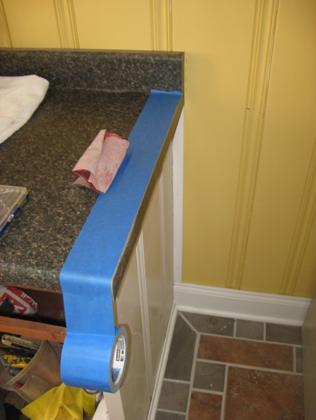 tape off at end cap before finishing on a postform laminate countertop Tape off to protect the surface