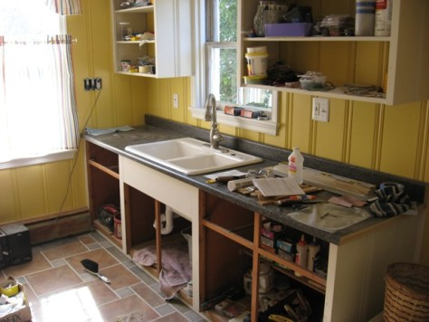 Counter set; time to cut insalling a self rimming cast iron sink in laminate over saved cabinets