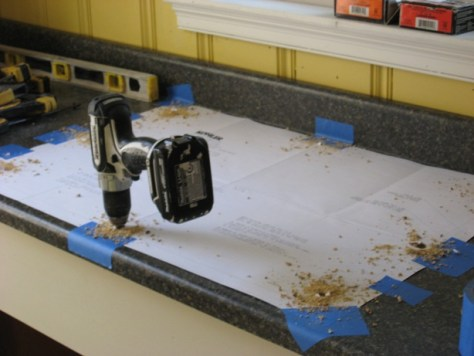 Installing a Self Rimming Sink :: when cutting in a postform laminate countertop drill starter holes