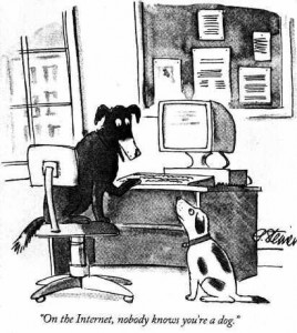 New Yorker cartoon :: On the internet, noone knows you're a dog