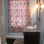 new bath blue and brown chiaro tile flowery curtain