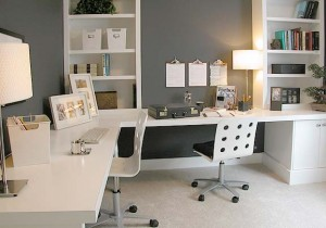 Contemporary Home Office in White image via Bethany Winston source unknown