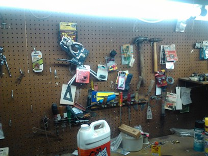 Pegboard Above a Workbench