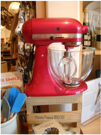 Red Mixer on Crate in Kitchen by Donna Frasca