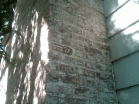 Removing Old Paint from Brick Walls :: Paint Residue After Peel Away Brick Chimney