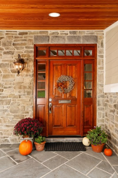 Stained Entry Door with Double Sidelight & Transom image via Schedule Fred